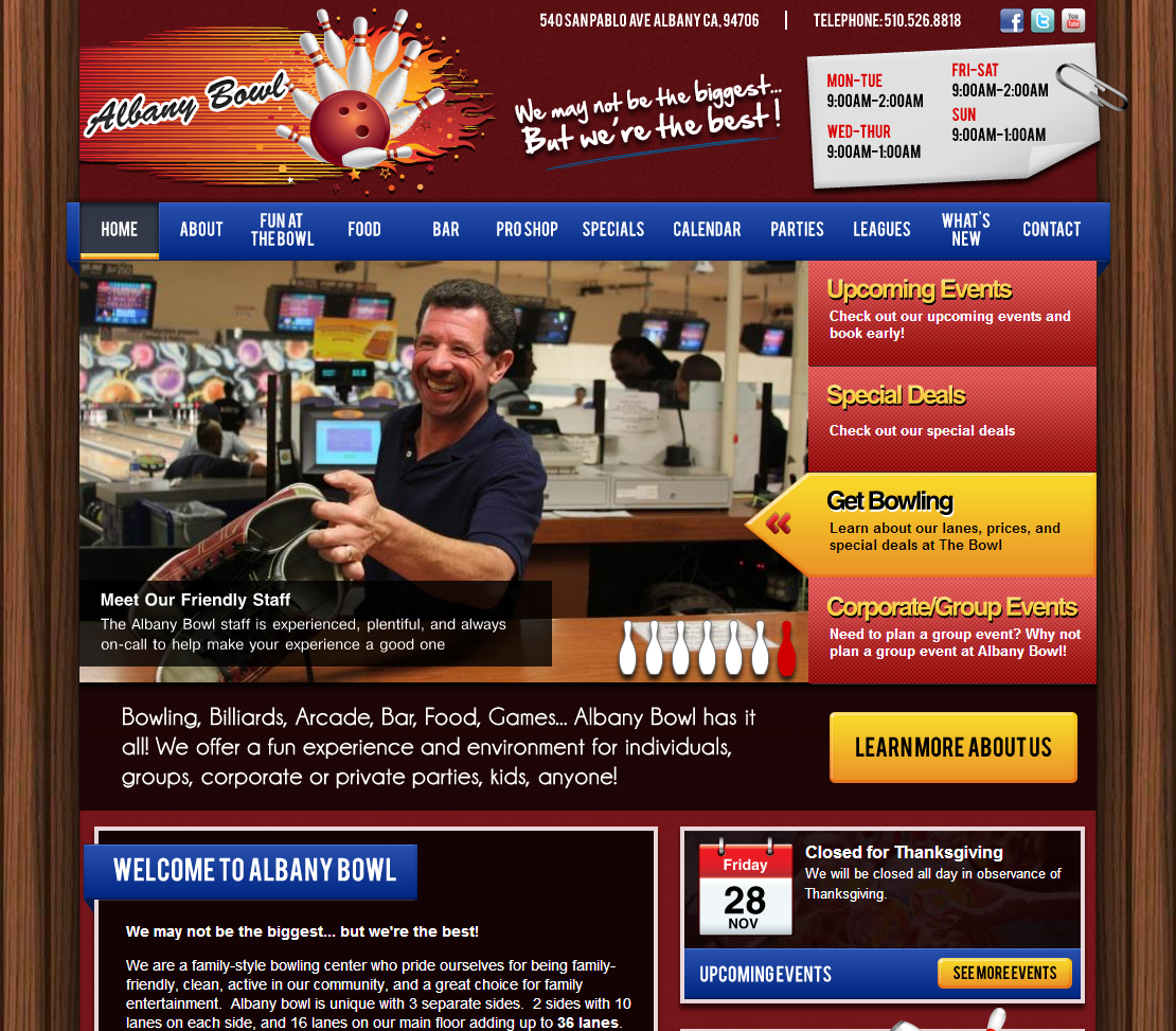 Albany Bowl website -- AFTER redevelopment by T324