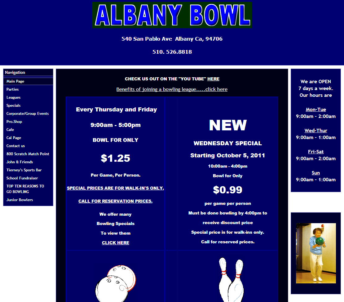 Albany Bowl website -- before redevelopment