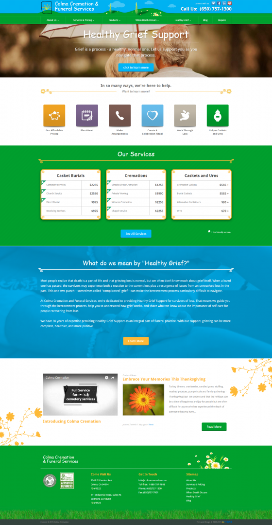 East bay web developers, web design, cremation services