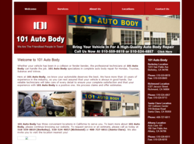 101 Auto Body website -- before redevelopment project