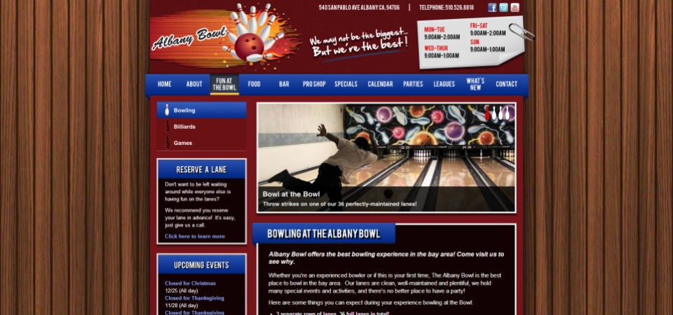 Albany Bowl website -- typical About page
