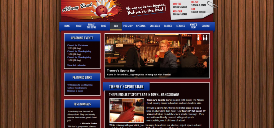 Albany Bowl website -- restaurant and bar mini-site