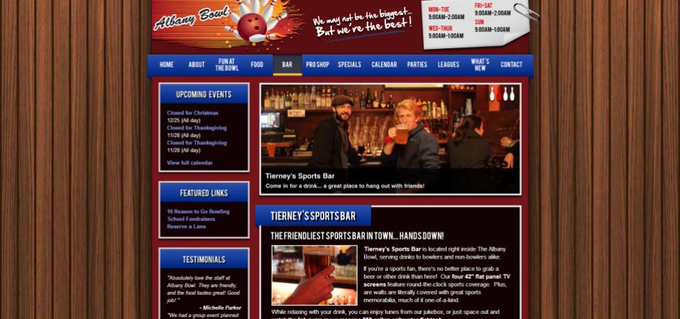 Albany Bowl website -- restaurant and bar mini-site