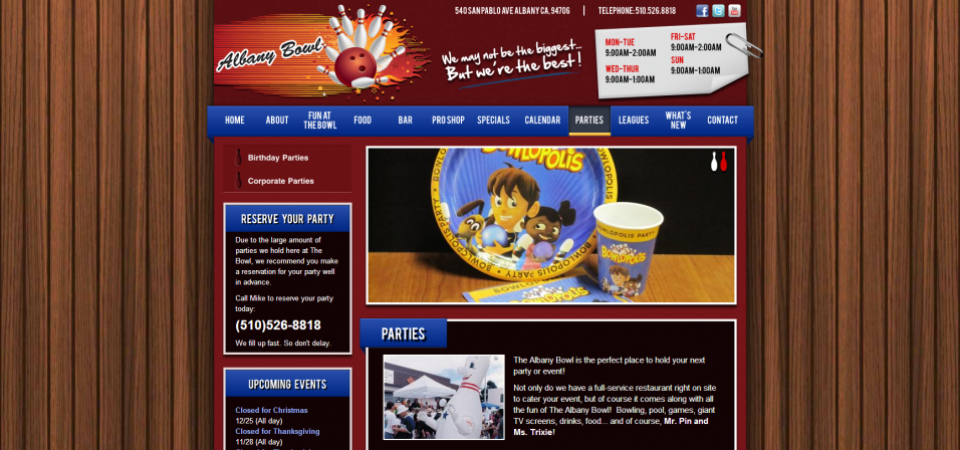 Albany Bowl website -- events page
