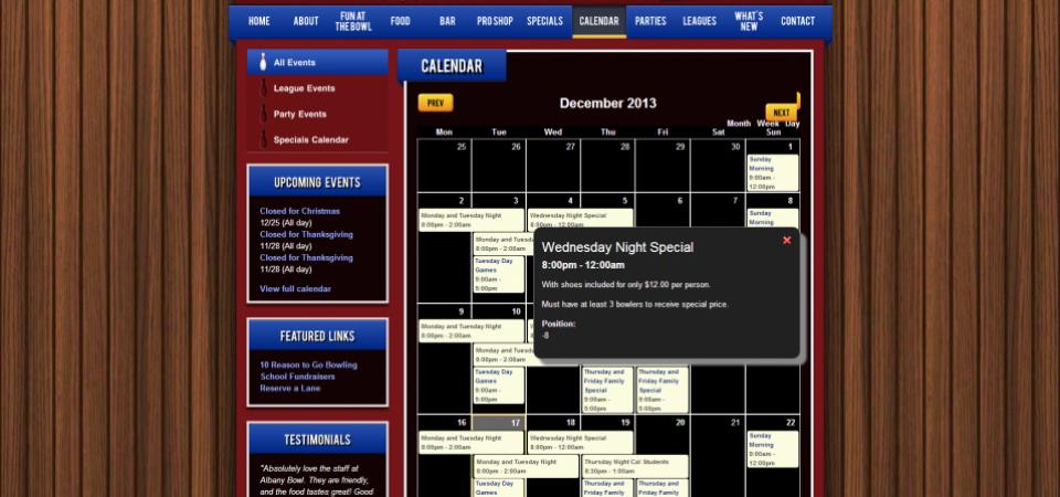 Albany Bowl website -- calendar with event categories