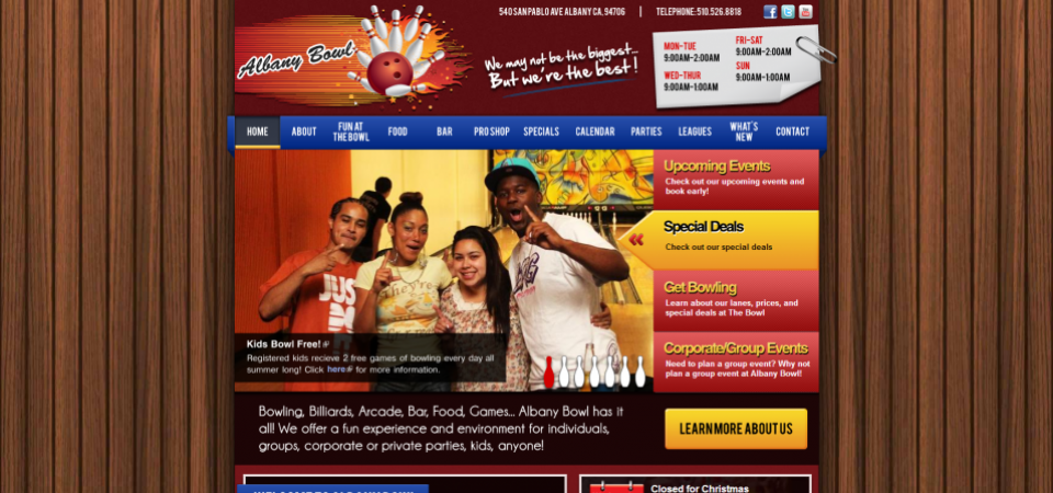 Albany Bowl website Home page -- featuring slideshow