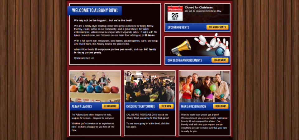 Albany Bowl website Home page -- feature areas with embedded video