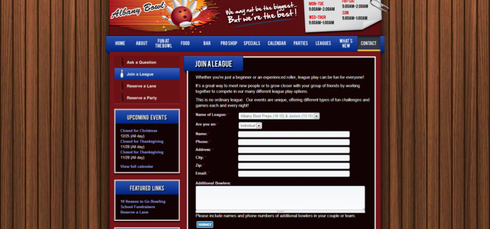 Albany Bowl website -- customized form for signups
