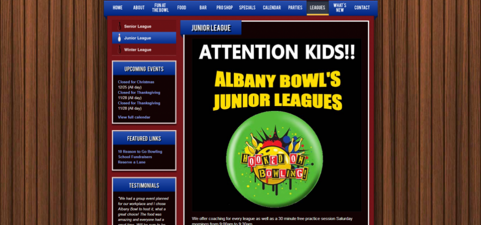 Albany Bowl website -- About page for leagues