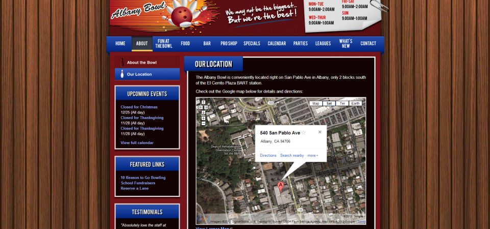 Location page with embedded Google map