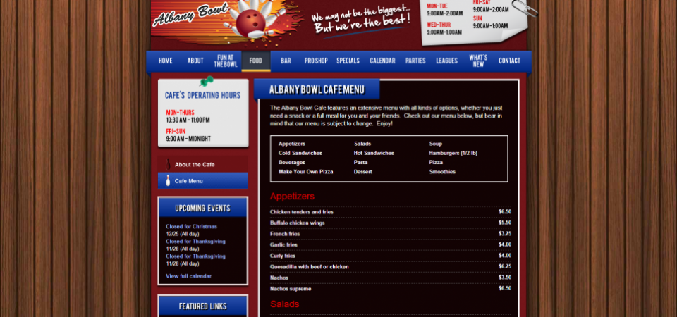 Albany Bowl website -- restaurant menu