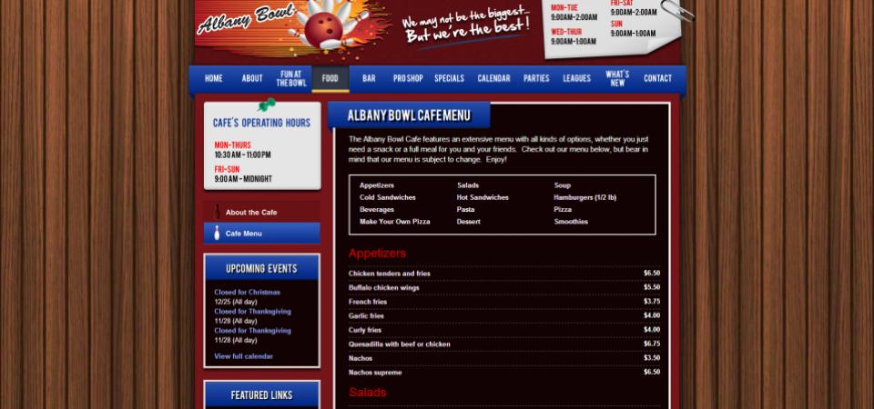 Albany Bowl website -- restaurant menu