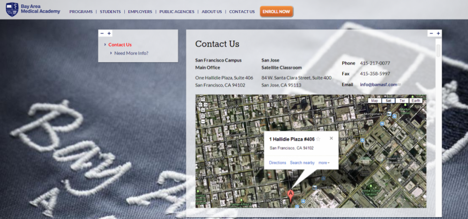 Contact page with embedded Google Map