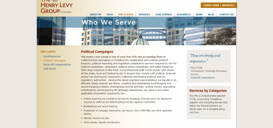 Henry Levy Group | T324 | Website Design and Development