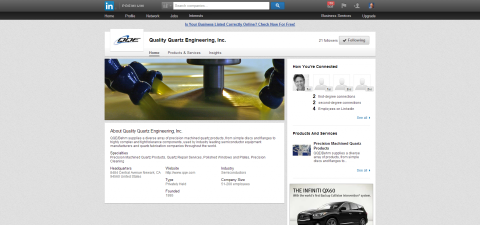 Integrated LinkedIn company page