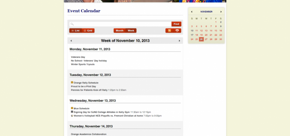 Calendar with list view