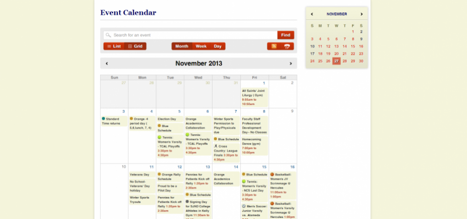 Calendar with multiple categories and monthly view