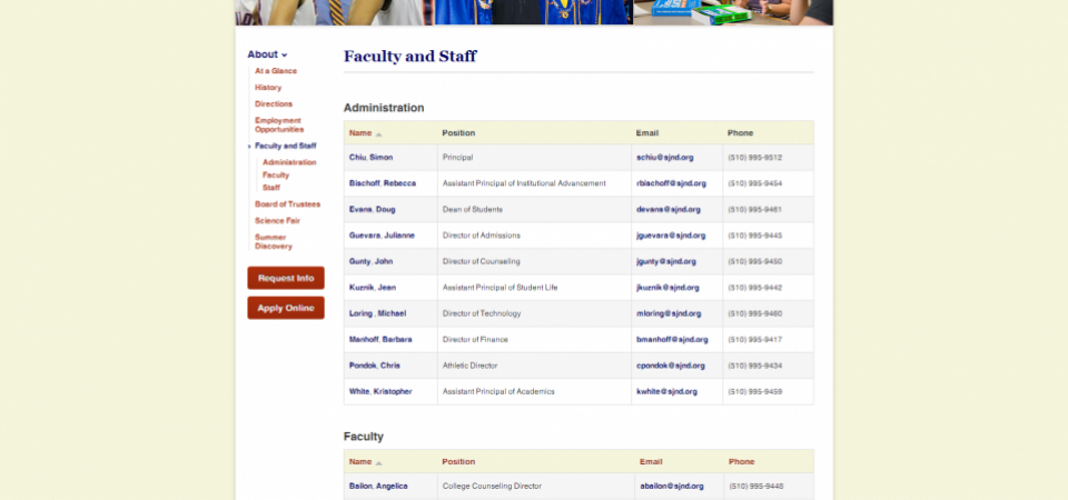 Staff Directory with condensed view