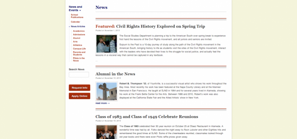 News overview page
