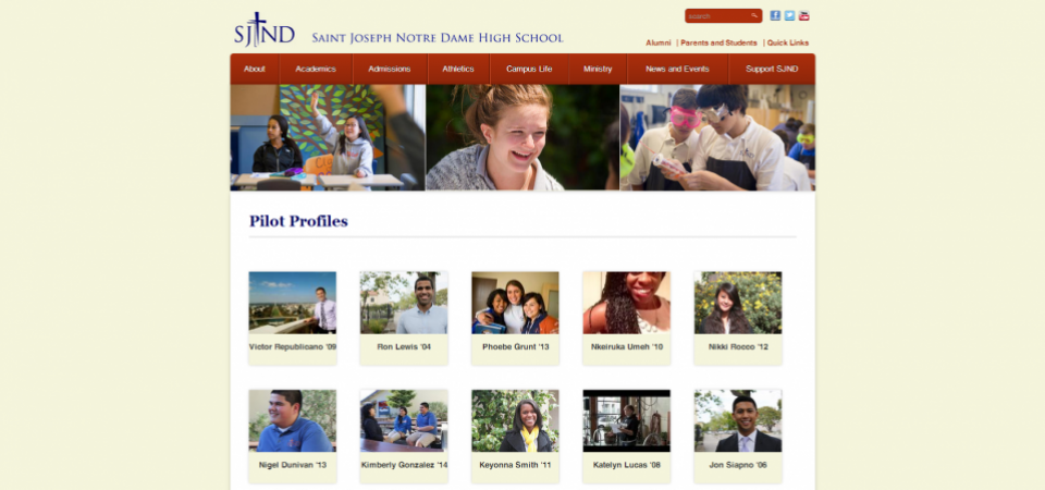 Student Profiles with automatic thumbnail generation