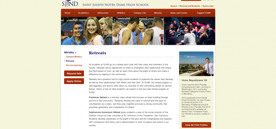 Student Profile dynamically embedded in sidebar