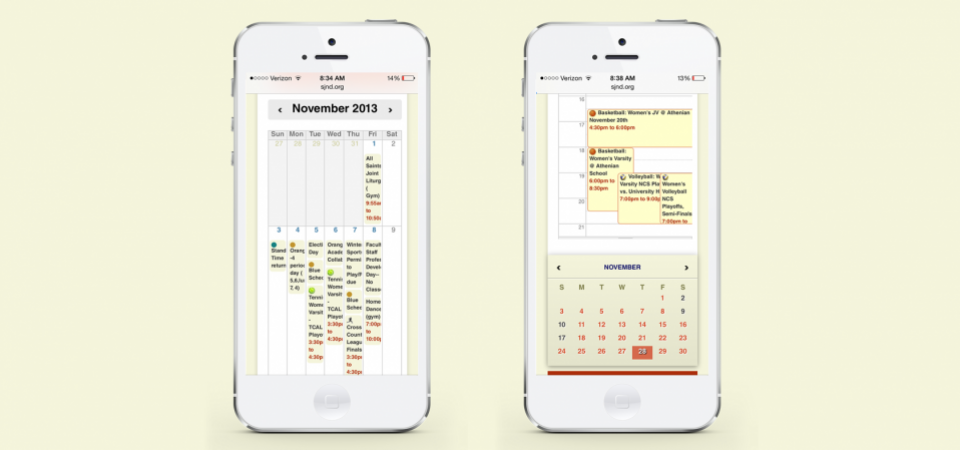 Calendar with daily view - mobile version