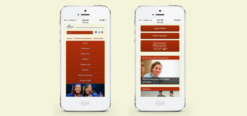 Website Home page - mobile version