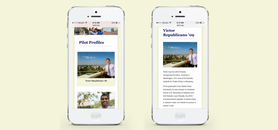 Student profiles - mobile version